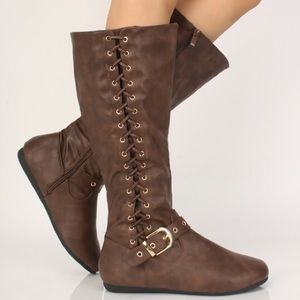 5⭐️BROWN Lace Up Mid-Calf Round Flat Boots- Shoe